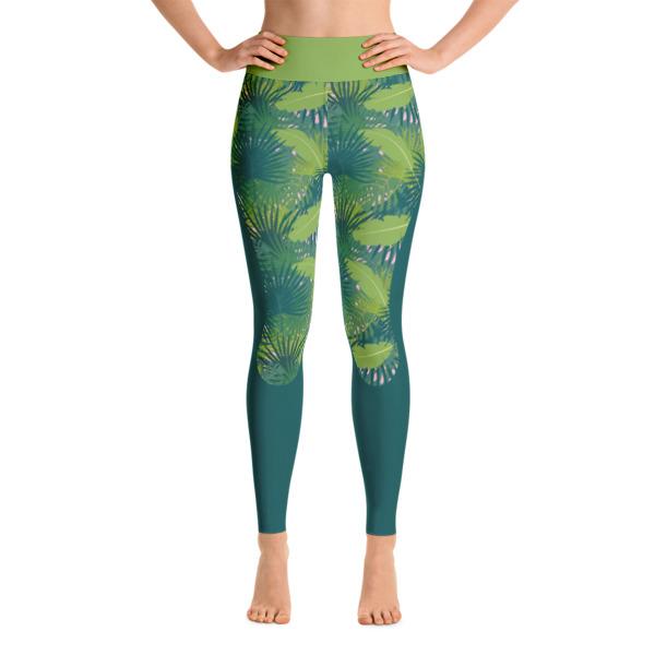 396b9effd8d1e7 Khaki Green Womens Topical Yoga Leggings - Buy Print Leggings Online ...