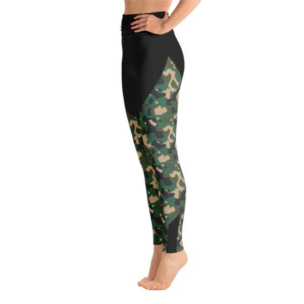 7187d3718c2d6 Patterned Camo Capri Green-Black Yoga Leggings - Buy Print Leggings ...