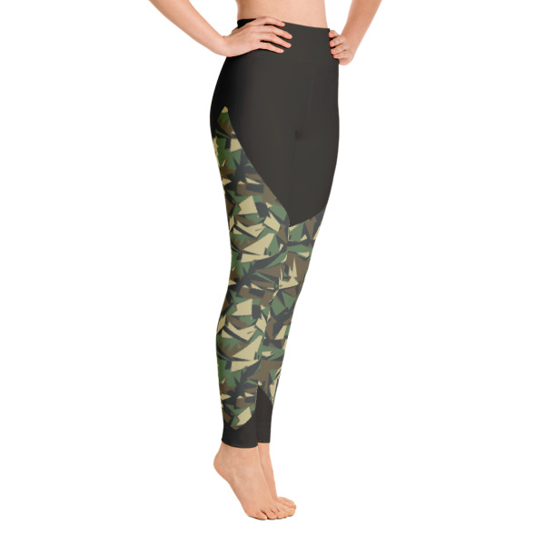2714ca06663f0 Patterned Army Green - Black Workout Yoga Leggings - Buy Print ...