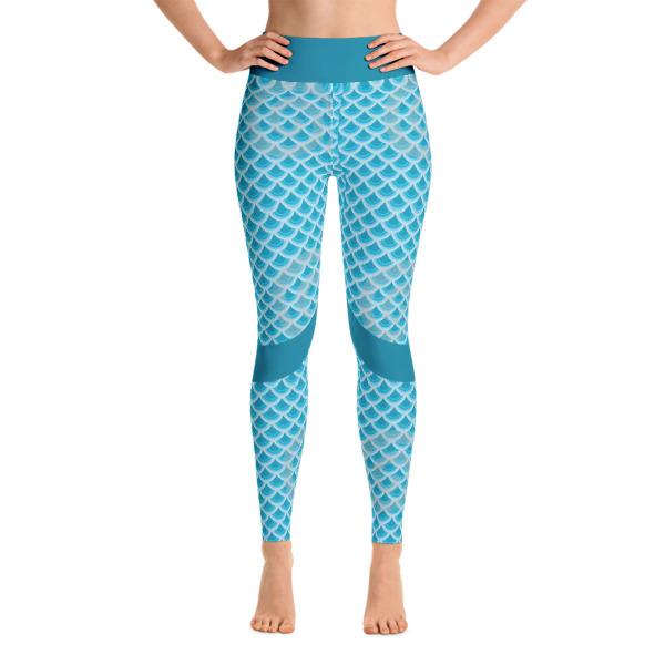 60b1eb66f1 Colorful Mermaid printed on Blue Yoga Leggings - Buy Print Leggings ...